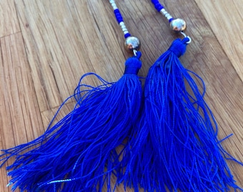 Tassel necklace|boho necklace|gift for her|beads|silver|bohemian|blue beads|long necklace