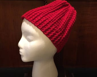 Crocheted winter hat, red, fits youth or teen