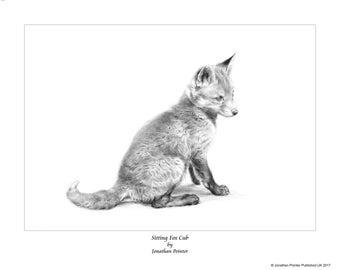 """Limited edition print """"Sitting Fox Cub"""" (foxcub)"""