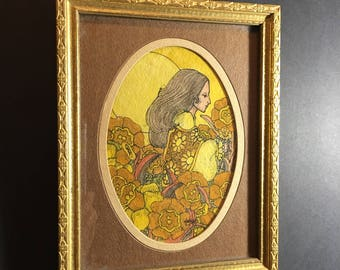 Original paintig and drawing in Art nouveau style framed watercolor - Woman and flowers