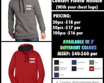 District Men's The Concert Fleece Hoodies ( with chest logo embroidery)