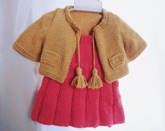 Kuzzy Design Girl Baby Hand Knit Dress and Cardigan Kit,Hand Knit Coath,3-6 Month,6-9Month,9-12 Month,1/2/3 Years