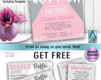 Mountain baby shower, Adventure awaits, hunter, tribal girl baby shower, pink gray Invitation Template, girl shower, FREE Diaper Raffle,book
