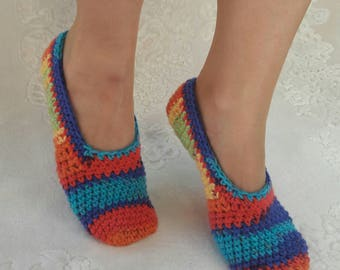 Rainbow slippers,Women crochet slippers, Colourful socks, Colourful slipper socks, Women rainbow slippers, indoor slippers, wool slippers.