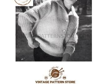 "Ladies 1950s, easy to knit, wide collar, raglan sleeve cardigan - 34"" - 38"" chest - Vintage PDF Knitting Pattern 854"