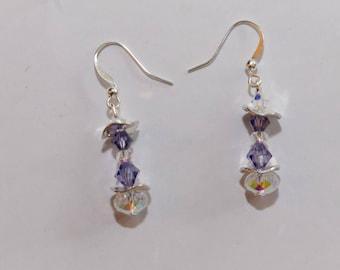 Earrings purple Swarovski Crystal and Crystal AB nickel and lead free.