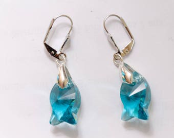 Indigo fish and lead free Swarovski crystal earrings