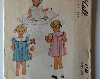 McCall 6548 Girls Dress Size 6 Vintage 1940's