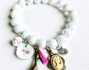 French-Inspired Tea Time Charm Stretch Beaded Bracelet