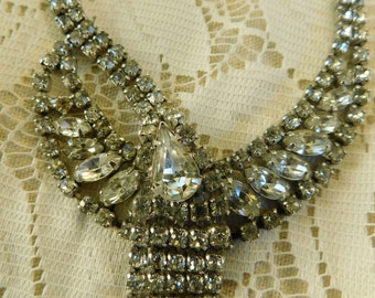 Kramer Necklace, Rhinestone Necklace, Thunderbird Swag Necklace, Vintage Necklace
