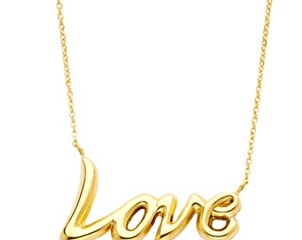 14k Yellow Gold Love Necklace - 18 inches