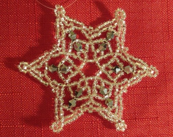 Silver Beaded Snowflake Ornament