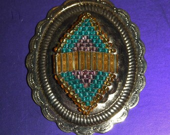 Hand Crafted Teal, Gold & Purple Beaded Gold Button Concho