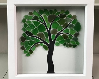 Framed Seaglass picture - large tree