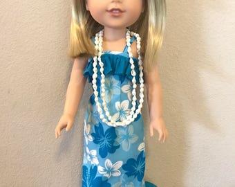 Wellie Wisher Hawaiian Luau Dress - Blue
