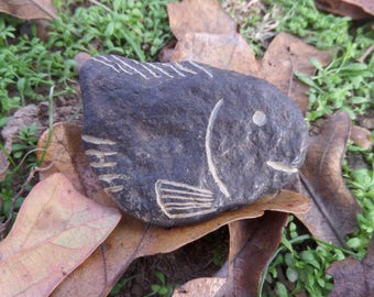 Hand carved black river rock fish 09