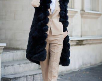 Long Black Fox Fur Gilet