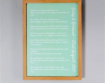 Bespoke, Personalised Wedding Poem/Reading Print - A4 40 Lines
