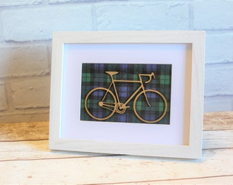 Bicycle Picture Frame with Tartan Background