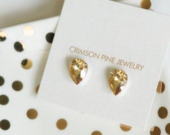 Champagne Pear Earrings, Champagne Bridal Earrings, Champagne Bridesmaids Earrings, Everyday Earrings, Pear Studs, Minimalist Earrings