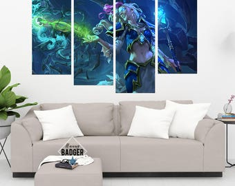 Jaina Proudmoore World of Warcraft 4 Panel Piece Canvas Set WoW Wall Art Print Poster Artwork Wall Decor Painting Decal Mural Decoration
