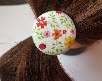 Hair ties hair elastics hair ties hair accessories elastic hair bands ponytail holders pigtails 38mm bird flowers ladybird cover button