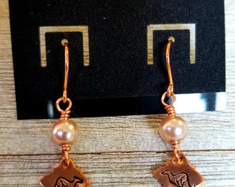 Greyhound Stamped Copper Earrings