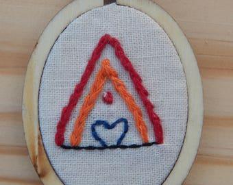 Miniature Embroidery Fire Love