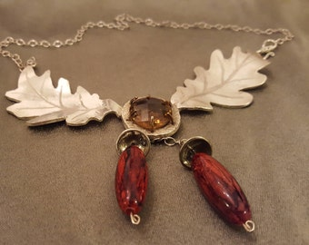 Yellow citrine 23 carat handmade silver necklace