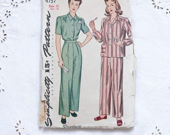 1940s sewing pattern shirt and high waisted trousers