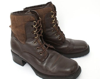 EU 39 - Brown ankle boots womens size UK 6 / US 8,5 - 90s leather boots - 90s brown vintage shoes for women - brown lace up boots - winter