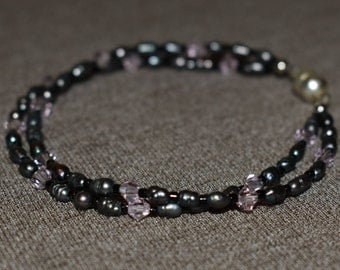 Grey Shell and Light Pink Swarovski Crystal Double Stranded Bracelet