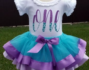 Mermaid First Birthday Double Ribbon Tutu Outfit Size 12-18m READY to Ship!