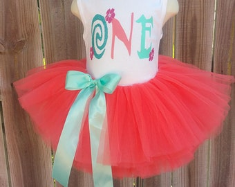 Hawaiian First Second Birthday Tutu Outfit Free Personalization