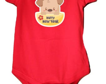 Personalized baby bodysuit and toddler tees-Cute Puppy with Happy New Year,perfect for Chinese New Year 2018 (year of the dog).