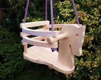 Baby hanging swing, baby swing indoor, wood baby swing horse shapped craved by hand in solid and natural wood
