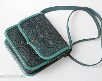 Crossbody bag women, green shoulder bag, leather bag ladies, genuine leather bag, hot tooled bag, embossed purse, messenger bag, gift idea