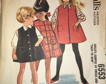 McCall's 6553 Child's Jumper or Dress and Blouse 1962