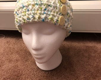 Crocheted headband with buttons