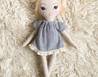 Sweet whimsical handmade cloth doll, fuzzy blonde hair, pigtails