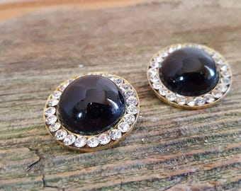 Vintage Black and Crystal Clip on Earrings