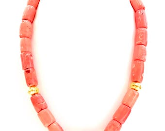 Chunky Pink Salmon Coral Necklace Gold Tone Findings