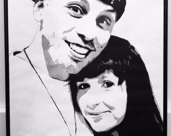A3 framed commissioned hand painted portraits. Custom made black and white art markers on marker paper. CanvasByCalvin