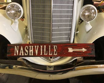 Nashville Sign, Distressed Wooden Nashville Sign