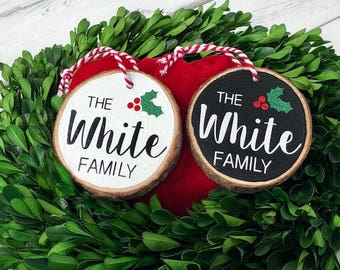 Wood slice ornament - Family