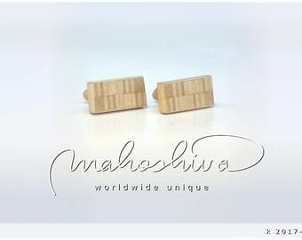 wooden cuff links wood alder maple handmade unique exclusive limited jewelry - mahoshiva k 2017-104