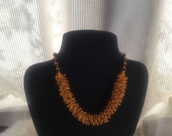 Topaz seedbeaded necklace graduated with pearls and finished with gold plated sterling silver bolt ring clasp