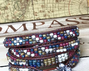 Road Trip, leather wrap bracelet wraps around 4 times, bright colored seed beads, boho leather wrap, blue pink white and yellow bracelet