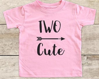 TWO Cute with Right Arrow boho Second 2nd Birthday Shirt for Boy or Girl - bohemian hipster hippie kids youth birthday shirt