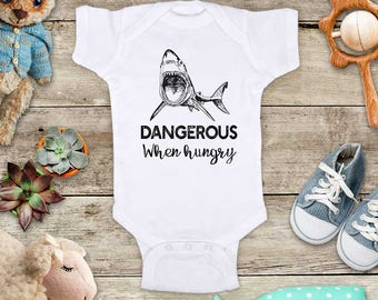 Dangerous when hungry shark Funny Baby Bodysuit Shower Gift - Made in USA - toddler kids youth shirt